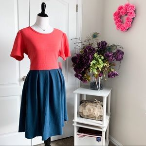 LuLaRoe Amelia Color Block Pleated Dress